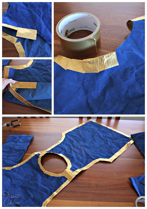 Gold trim on blue sheath for Snow White Prince costume