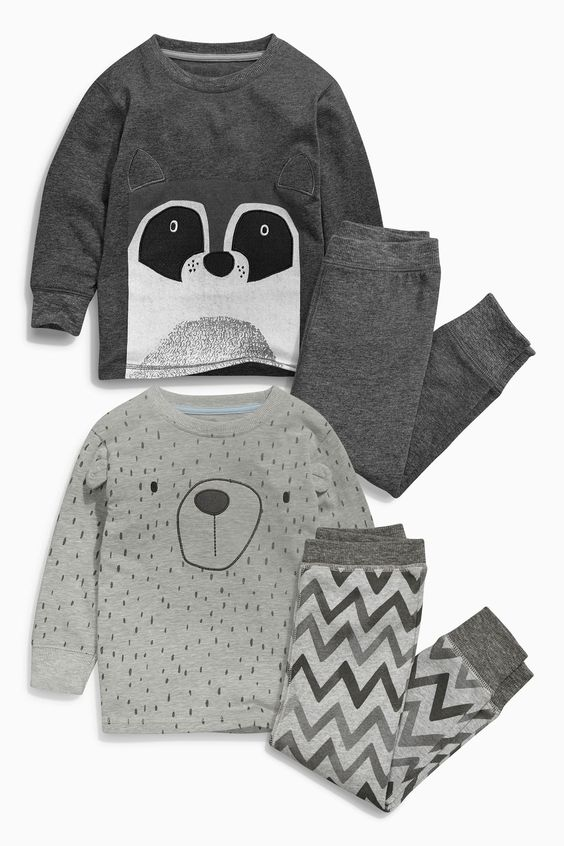 Buy Two Pack Grey Racoon Snuggle Fit Pyjamas (9mths-8yrs) online today at Next: United States of America