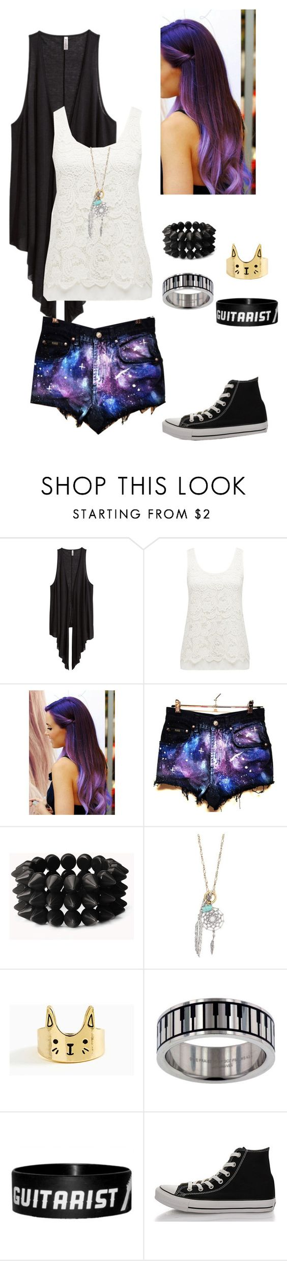 """Untitled #34"" by fossfirer5 ❤ liked on Polyvore featuring H&M, Forever New, Forever 21, With Love From CA, Converse, galaxy, R5 and R5family"
