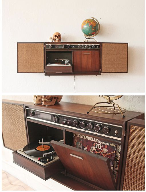 General Electric Wall-Mounted Record Player Stereo Wall Cabinet ...