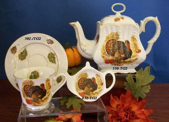 Blessed Thanksgiving Porcelain Tea Set