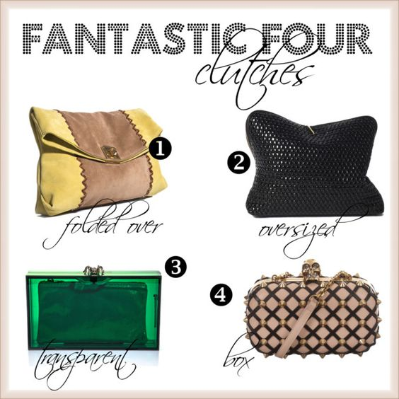 fantastic four clutches by simplebutfabulous, via Polyvore