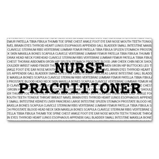 nurse practitioner medical words business card nurse business