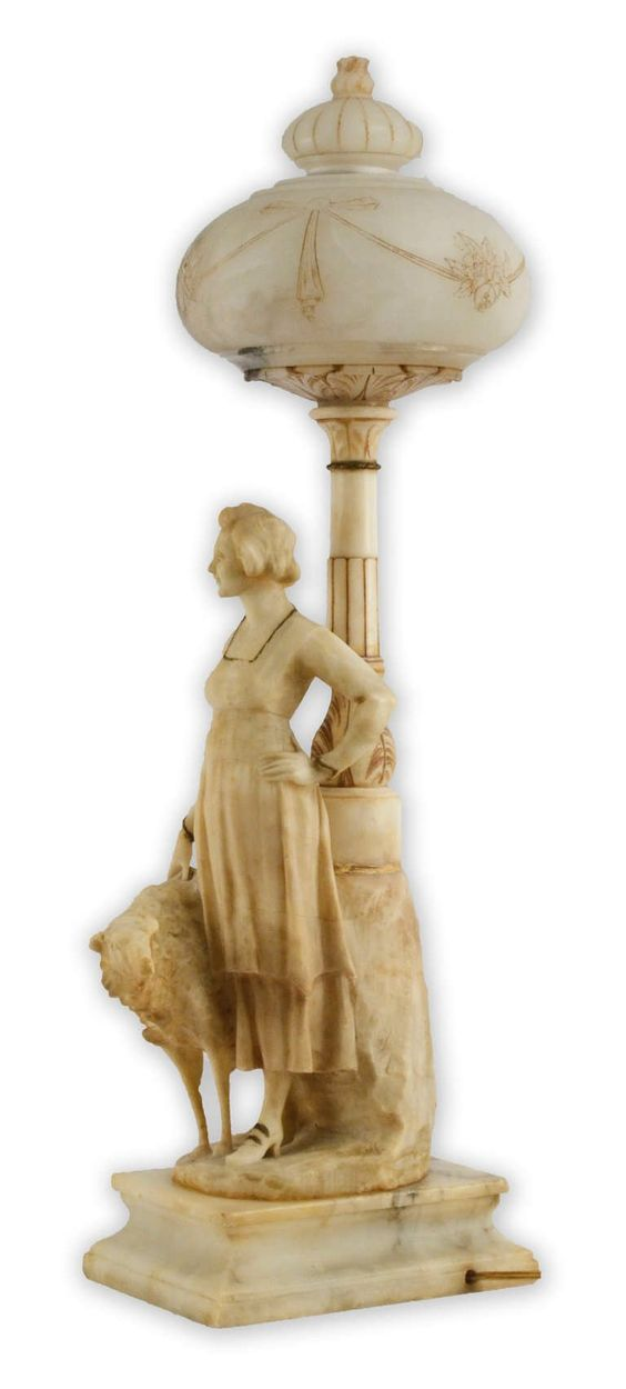 vintage italian alabaster | Belle Époque Italian Alabaster Lamp Featuring Woman and Hound image 3