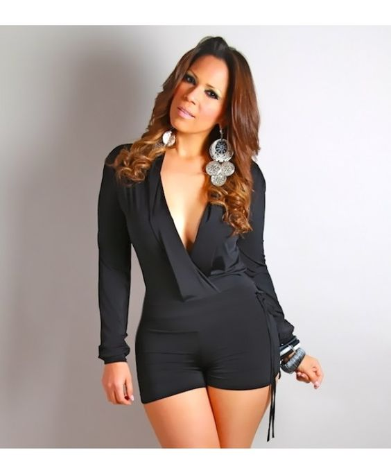 961- Sexy low V-neck black long sleeved short jumpsuit - Rompers ...