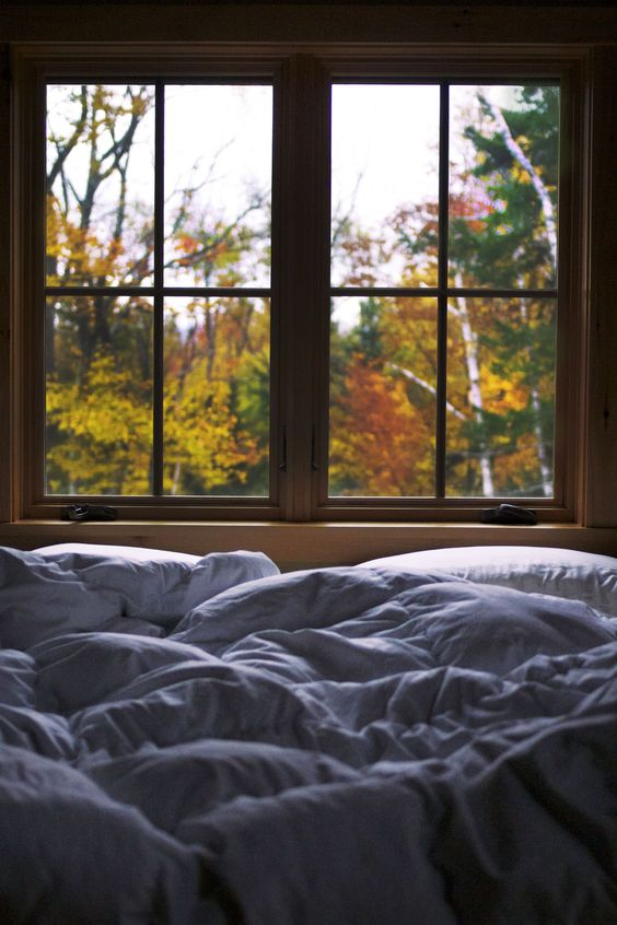 imagine a morning with a chill in the air, snuggled up in this down comforter and looking at that view! {sigh!}