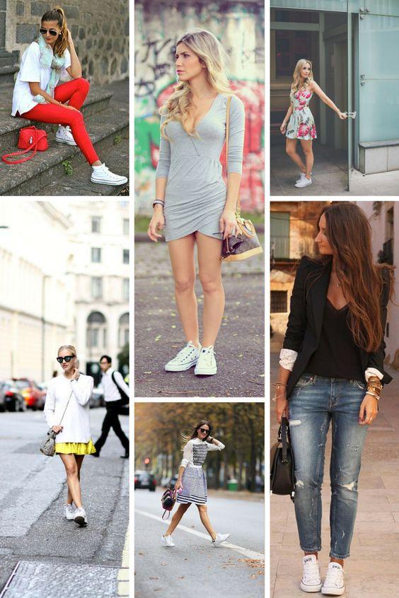 Tendência como usar tênis branco http//www.sapatilhashop.com.