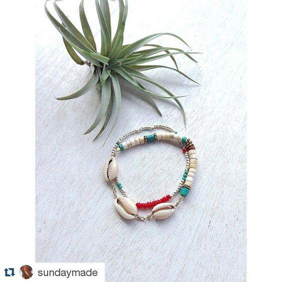 #Repost @sundaymade  New プロフィールからオンラインストアへ #Sundaymade #shellbracelet #karensilver #Bali #Hawaii #beachjewelry #summer #shells #turquoise #handmade #fashion #love #beachlife #style