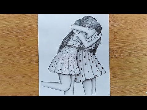 How To Draw Two Friends Hugging With Pencil Sketch Step By Step