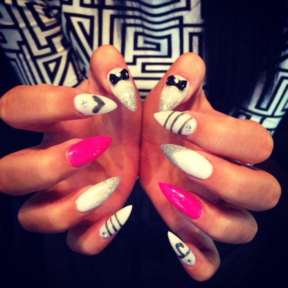 Hot pink, white and silver stiletto nails | Nails nails nails ...