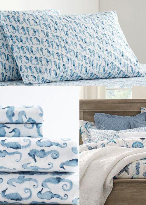 Blue Coastal Cotton Sheet Sets Nautical Bed Sheets Nautical Bedding Bed Decor