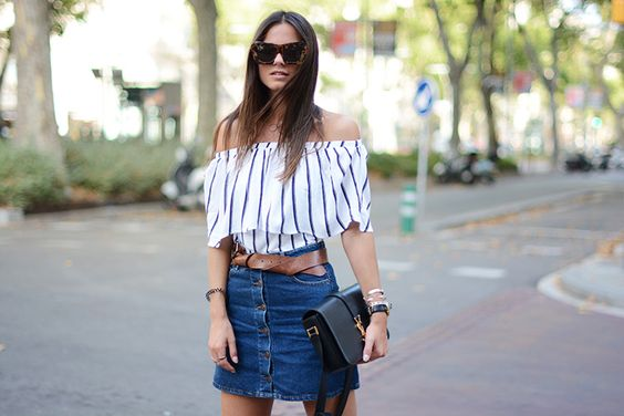 Striped Off-Shoulder | Fashionvibe