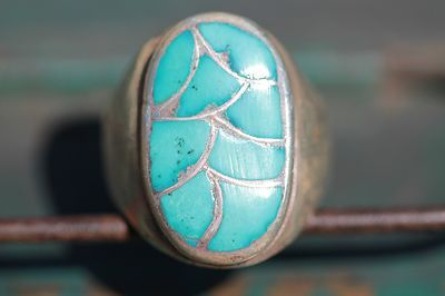 Vintage Men's Zuni 925 Sterling Silver Inlay Sleeping Beauty Turquoise Ring | eBay