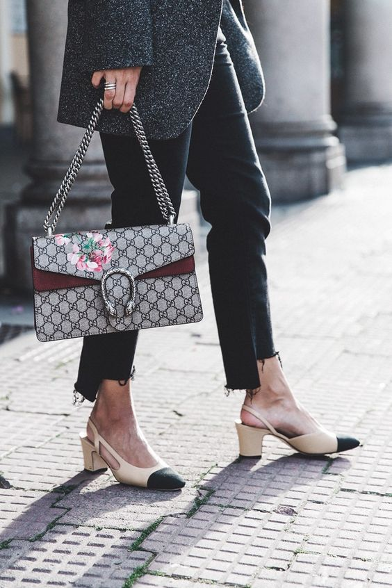 Chanel Slingbacks / Gucci Dionysus Bag / Levis Black Jeans http://FashionCognoscente.blogspot.com: