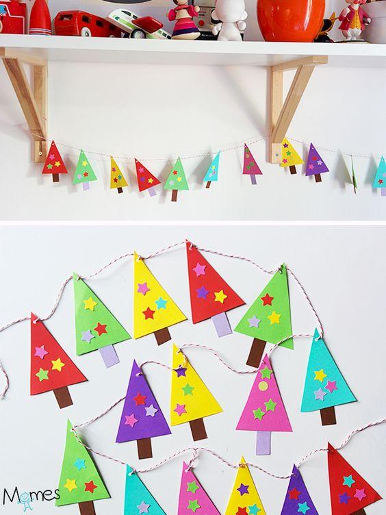 Cette guirlande en papier est une activité de Noël idéale pour les plus petites mains, c'est à dire les enfants de maternelle. Des formes et des techniques simples pour un adorable résultat qui décorera la maison ou la classe à Noël !: