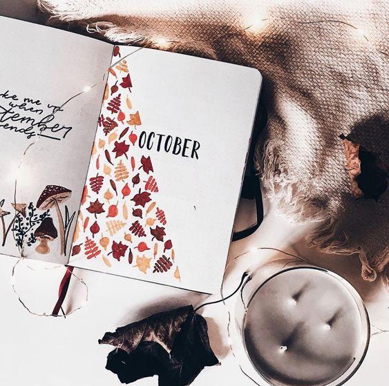 Bullet Journal à thème : l'automne est là (page par @midnightdreamreads)