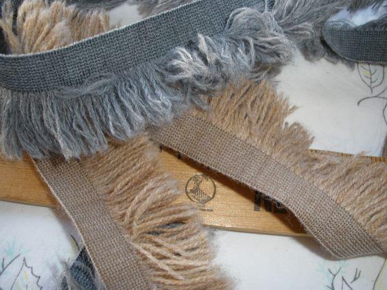 """Boho Brush Fringe trim 7/8"""" fringe width Gray or Sand 1 3/8"""" wide BTY retro yards yardage craft costume yarn ribbon fringe bags hats cool by kabooco on Etsy"""