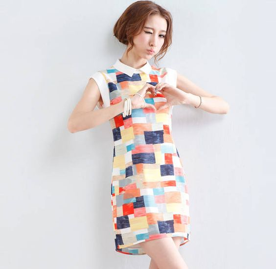 Korean sweet polo collar  check   dress $10.32