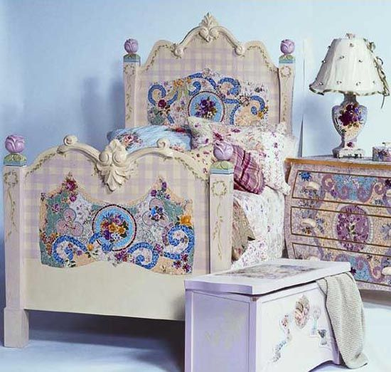 Kids room Mosaic Headboard bed for a Dream pretty princess Bedroom design - Home Interior Design