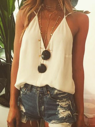 Summer style | White top, distressed denim shorts