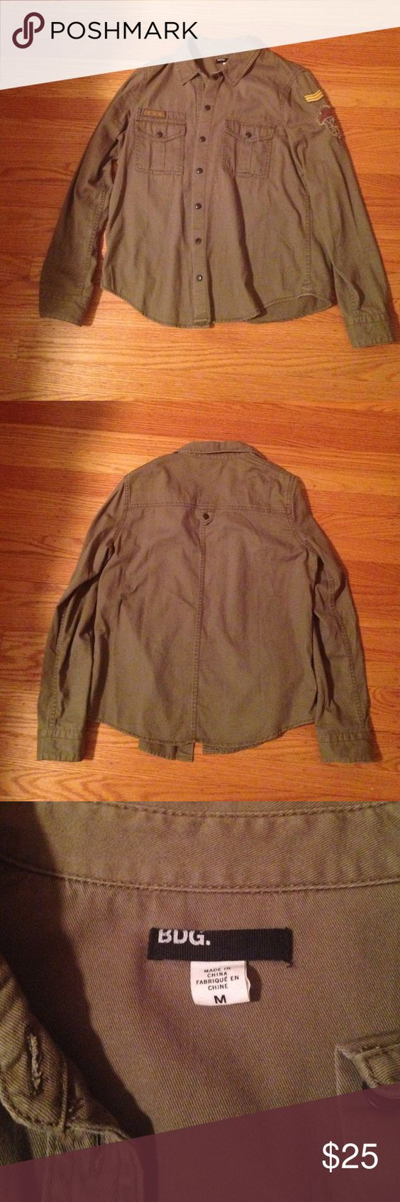 BDG Green Vintage Style Boy Scout Shirt BDG olive green vintage style military/boy scouts button-down shirt from Urban Outfitters. Really soft and comfortable. The tags have been removed but it's never been worn. BDG Tops Button Down Shirts