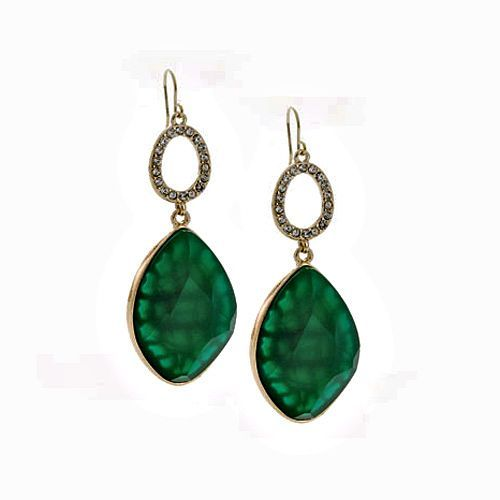 """EMERALD BAY EARRINGS + Green faceted resin stone dangle earrings accented with clear glass stones. Fish hook back. 2½""""24.00 Item: 12252 Y-E-S:  $10.00"""