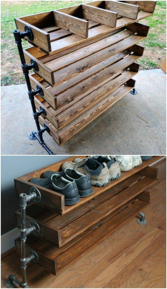 wood shoe rack diy shoe storage