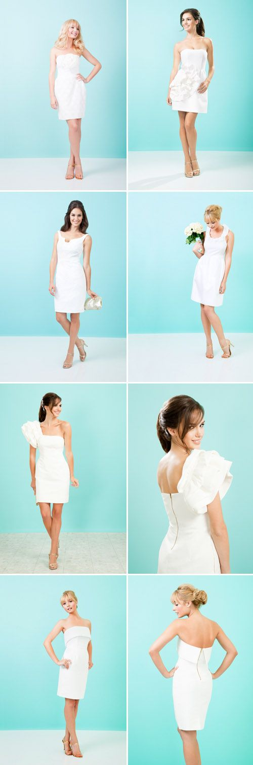 Crisp and cute little white wedding dresses designed by Kirribilla