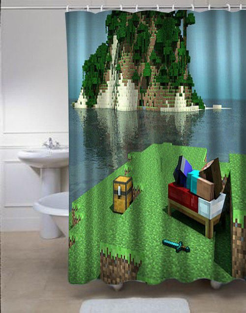 Minecraft Mine Craft Personalized Showercurtains Curtains