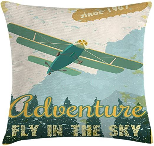 Ambesonne Vintage Throw Pillow Cushion Cover Old School Plane In The Sky Trees Sixties Propell In 2020 Vintage Throw Pillows Cushion Pillow Covers Accent Pillow Cases