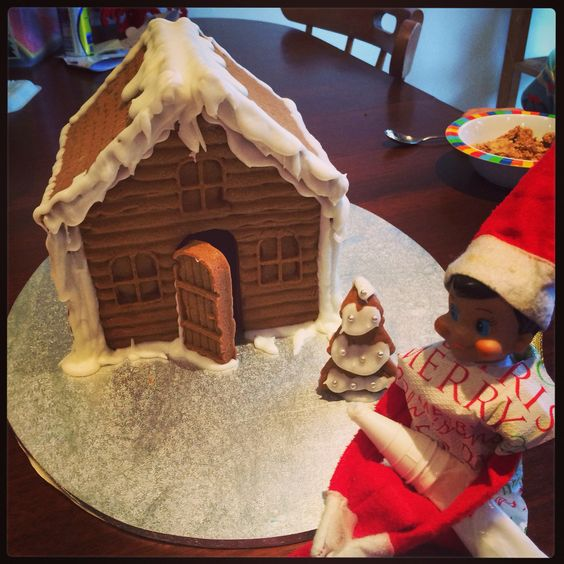 Finnegan the Elf made a gingerbread house ready for the kids to decorate.