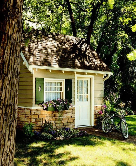 Cottage cozy shed project plan 503496 the shutter for Cottage siding