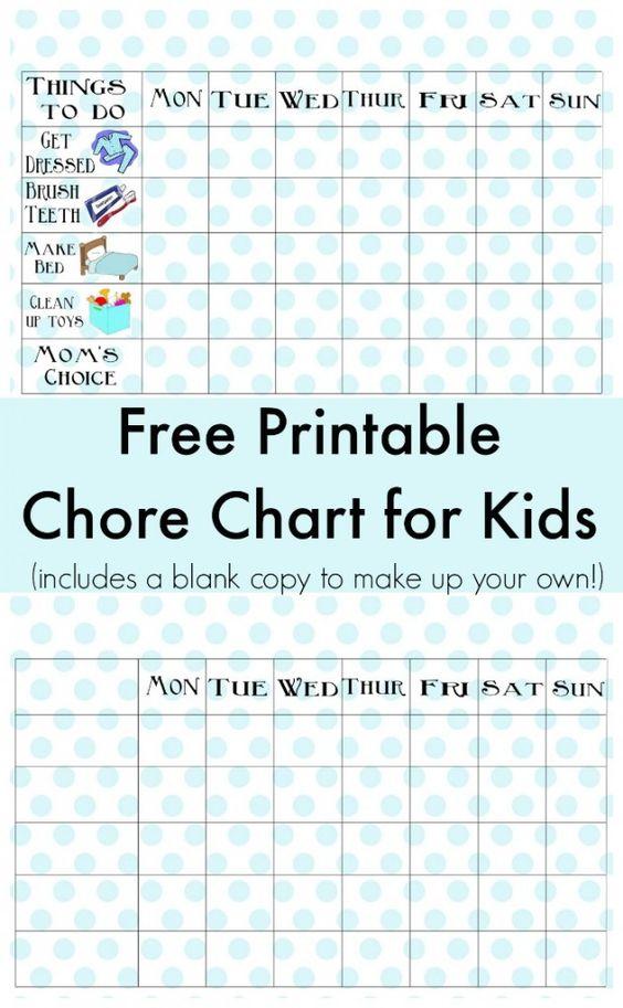 Free Printable Chore Chart Free printable chore charts - blank sticker chart