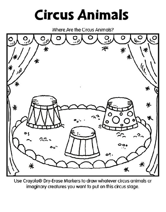 Circus animals coloring page circus pinterest for Carnival themed coloring pages