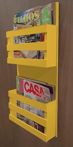 Revisteiro Porta Revista De Parede Decorativo - Amarelo Laca - R$ 182,00: