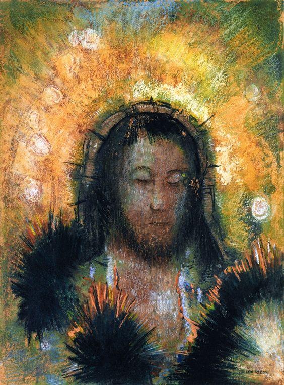 Odilon Redon ~ Christ's Head, c.1895: