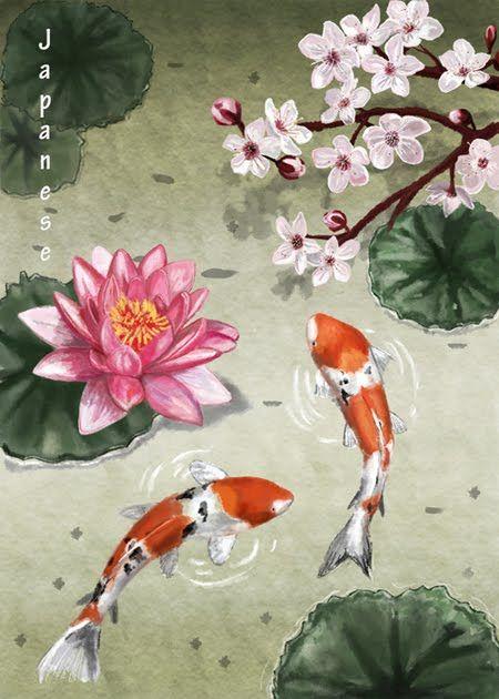 Cherry blossom lotus flower and koi japanese designs for Japanese koi art prints