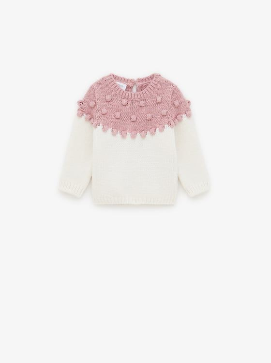 Knit Sweater With Embroidered Balls View All Knitwear Baby Girl 3 Months 5 Years Kids Zara United States In 2020 Girl Outfits Checked Leggings Fashion