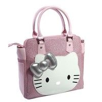 High quality Fashion Hello Kitty Bags Cute Animal Print Bags With Bow Pink And Black Color Women Handbags Shoulder Bags