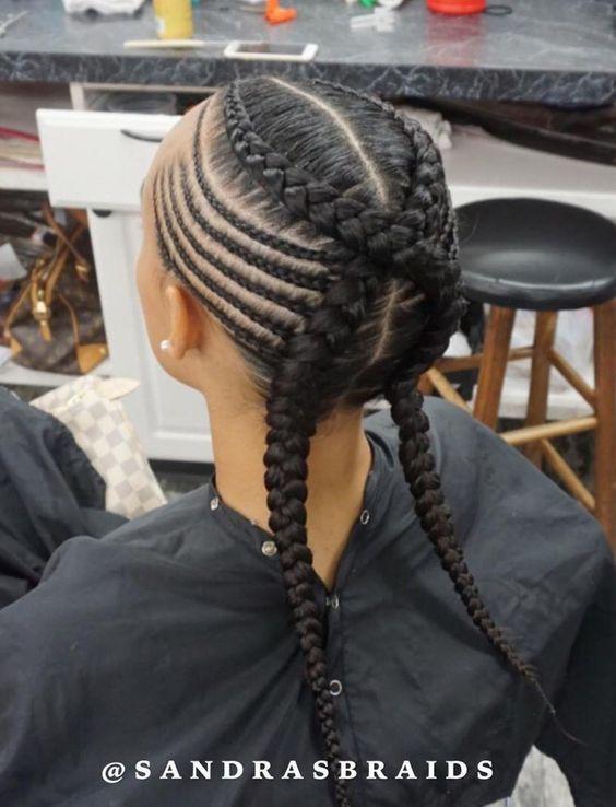 criss cross jumbo braids with side cornrows
