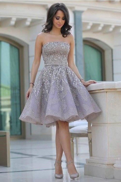 70071b08aee Elegant Sequin Strapless Sleeveless Knee-Length Cocktail Dresses ...