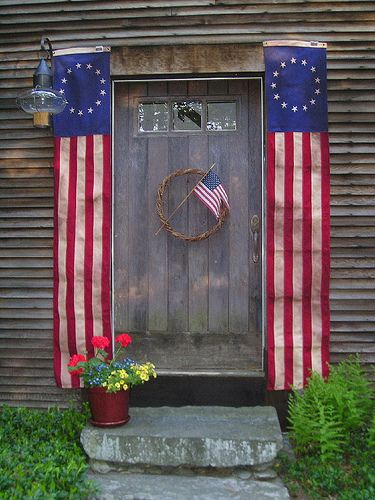 american flag wreath front doors and fourth of july on