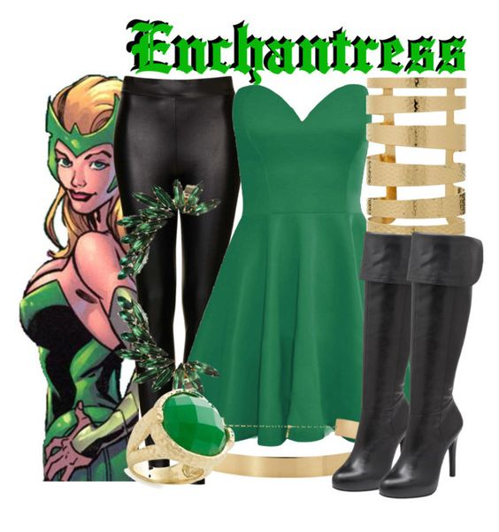 """""""Amora the Enchantress"""" by mcu-marvel-creations ❤ liked on Polyvore featuring Topshop, Jessica Simpson, Rivka Friedman, marvel, comics, thor, Amora and Enchantress"""