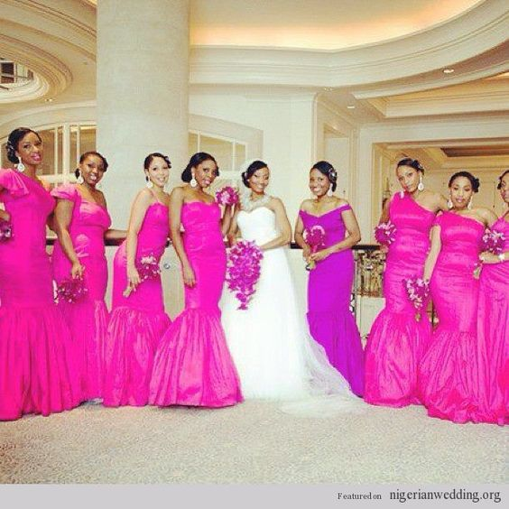 Nigerian Wedding Bridesmaids: Nigerian Wedding: Fun Girly Fuchsia Pink Bridesmaids
