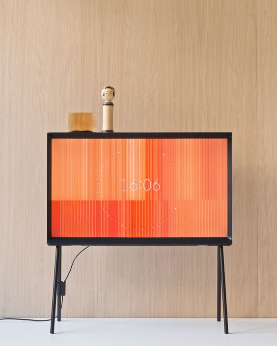 ronan + erwan bouroullec reinterpret samsung's serif TV as a piece of furniture