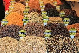 Market display of spices and nuts
