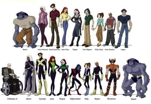 Charactermodel X Men Evolutions Hank Mccoy Ororo Munroe Scott Summers Jean Grey Marie Darkholme Kurt Wagner Kitty Pryde Personagens Super Heroi X Men