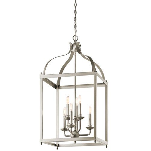 larkin brushed nickel six light cage foyer pendant kichler lantern pendant lighting ceilin cage pendant lighting