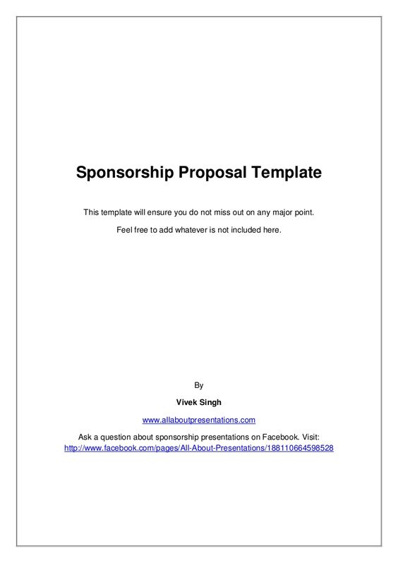 Sponsorship Proposal Template by Vivek Singh via slideshare - charity proposal sample