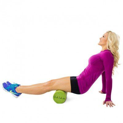 Post-workout stretches with foam roller.